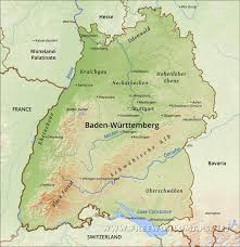 Black Forest Germany Map Baden Württemberg Physical Map