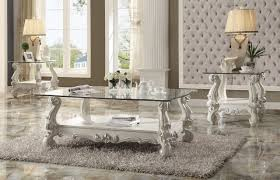 versailles 82103 coffee table in bone by acme w options