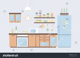 cute kitchen set home interior different stock vector 362165552