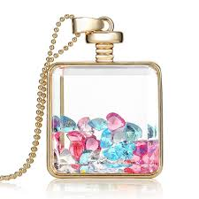 bottle necklace aliexpress images New design beautiful flower charm square shaped gold floating jpg