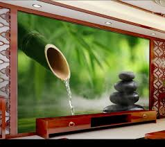 fresh bamboo forest water on stone yoga spa salon wallpaper 3d