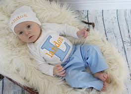monogram baby items personalized baby boy blue orange