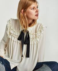 blouses with bows image 5 of ruffled blouse with contrasting bow from zara must