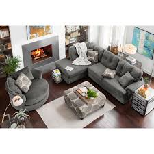 Swivel Sofas For Living Room Cordelle 2 Left Facing Chaise Sectional And Swivel Chair Set