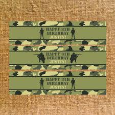 Camouflage Favors by Army Camo Birthday Water Bottle Labels Favors