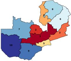 map of zambia zambia