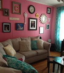 pink and teal living room gallery wall decor pinterest teal