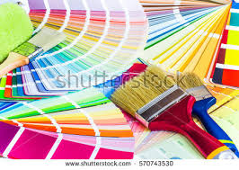 painter decorator work table house project stock photo 570743494