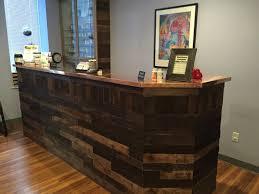 Reclaimed Wood Reception Desk Chiropractic Office Reception Desk Reclaimed Wood Pallet Office