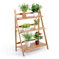 flower stand bamboo shelf 3 tiers folding balcony indoor plant