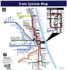 Chicago Bike Map by Chicago Train System Map Chicago U2022 Mappery