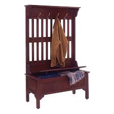 shop home styles transitional cherry hall tree bench at lowes com