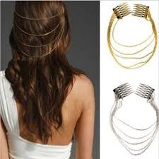 hair cuff fashion hair cuff pin clip 2 combs tassels chains hair clip