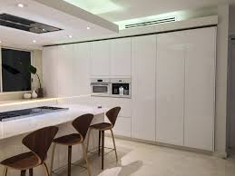 modern kitchen look no aluminum frame needed for these glass cabinets get this modern