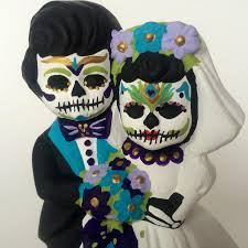 sugar skull cake topper day of the dead peacock wedding cake topper dia de los muertos