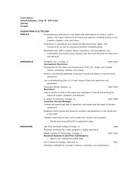 Resume Profile Template Residential Electrician Resume Best Business Template