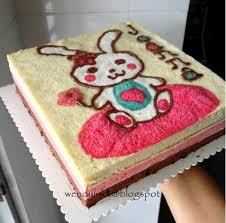 table for 2 or more painted cute bunny birthday cake