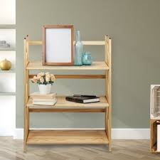 Natural Wood Bookcase Folding Stackable 27 5 Inch Bookcase Free Shipping Today