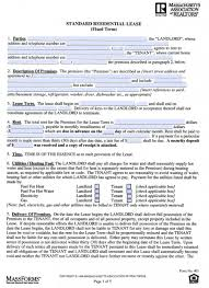 rental lease agreement word template free massachusetts one 1 year residential lease agreement pdf