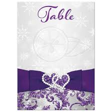 add your own numbers diy table card purple silver white