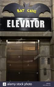 elevator decorated with bat wings for bat cave at halloween