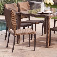 Outdoor Wicker Dining Set Furniture Lavish Dining Area In Backyard With Back Curvy Of