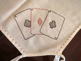 card game table cloth vintage poker bridge tablecloth embroidered suits cards clubs
