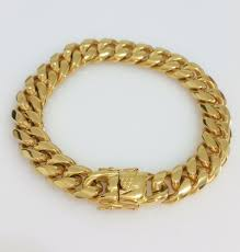 bracelet gold mens images Men 18k yellow gold stainless steel box clasp 12mm miami cuban jpg