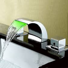 color changing led light bathroom waterfall chrome bath tub faucets
