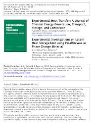 experimental investigations on latent heat storage unit using