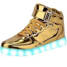 gold light up sneakers jaimebannister mens womens usb charging high tops led light up