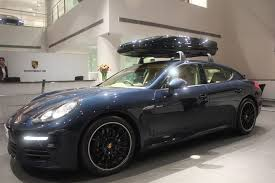 Porsche Cayenne Roof Rack - porsche panamera with roof box looks amazing at gurgaon dealership