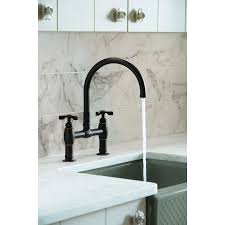 kohler rubbed bronze kitchen faucet kohler k 6130 3 2bz parq rubbed bronze two handle bridge kitchen
