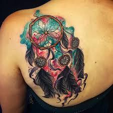 colorful simple dreamcatcher tattoo on left back shoulder
