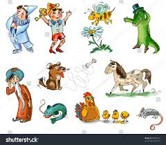 set fairy tale characters animals freehand stock illustration