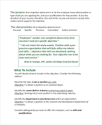 Resume Objective Sample Statements by Sample Resume Objective Example 7 Examples In Pdf