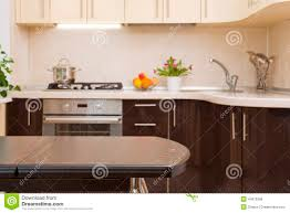 breakfast table on kitchen interior background stock photo image