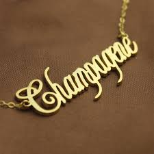 gold name necklaces solid gold chagne font name necklace