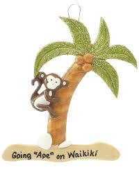 monkey climbing palm tree personalized ornament