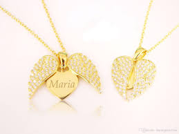 custom engraved heart necklace angel wing open heart necklace with personalized monogram engrave