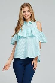 open shoulder blouse gozon s gingham cold shoulder peplum button gozon