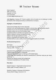 hr sample resume hr trainer sample resume