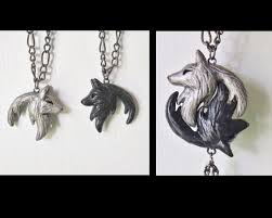 wolf yin yang necklace his and hers interlocking