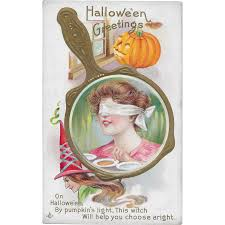 vintage halloween postcard blindfolded woman u0027s reflection in