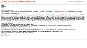 sample tailor offer letter