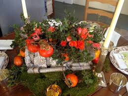 fruit and flowers centerpiece with birch bark foliage fruit and flowers