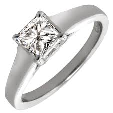 wide band princess cut solitaire wide band setting in 14kt white gold