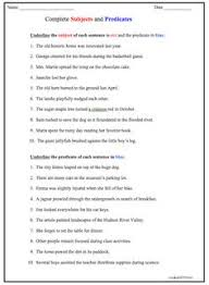 simple subject and predicate worksheet great english tools