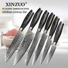 carbon kitchen knives xinzuo 6 pcs kitchen knives set 67 layers high carbon japanese vg10