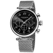 black bracelet mens watches images Akribos xxiv ak627ssb chronograph stainless steel mesh bracelet jpg